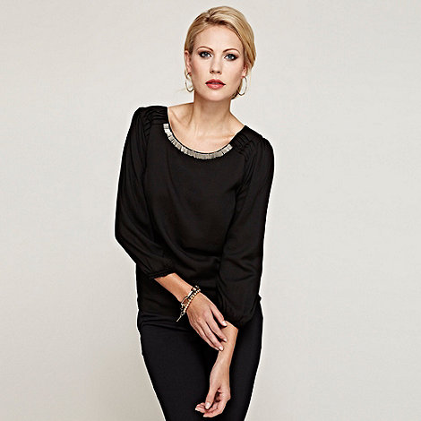 HotSquash - Black long sleeved blouse in Clever fabric