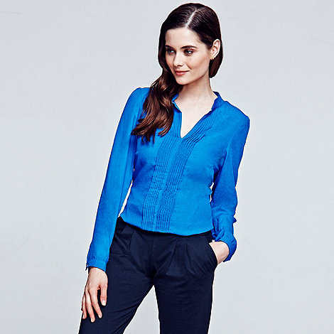 HotSquash - Long sleeved cobalt pleat blouse in Clever fabric
