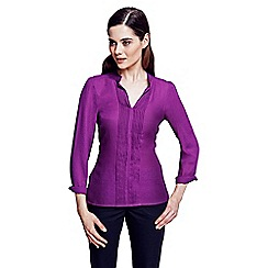 HotSquash - Long sleeved berry pleat blouse in clever fabric