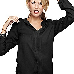 HotSquash - Long sleeved black pleat blouse in Clever fabric