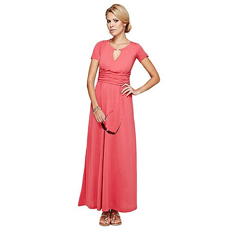 HotSquash - Coral Keyhole Maxi Dress in CoolFresh
