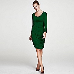 HotSquash - Green Horseshoe Neck line Ruched Dress in ThinHeat