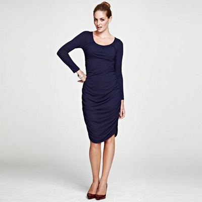 Navy Horseshoe Neck line Ruched Dress in ThinHeat