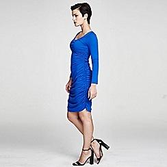 HotSquash - Cobalt Horseshoe Neck line Ruched Dress in ThinHeat