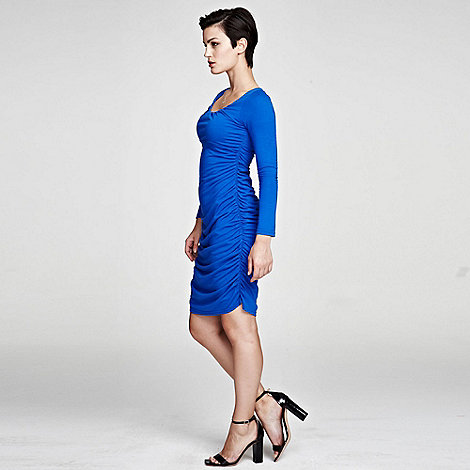 HotSquash - Cobalt Horseshoe Neck line Ruched Dress in ThinHeat