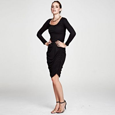 Black Horseshoe Neck line Ruched Dress in ThinHeat