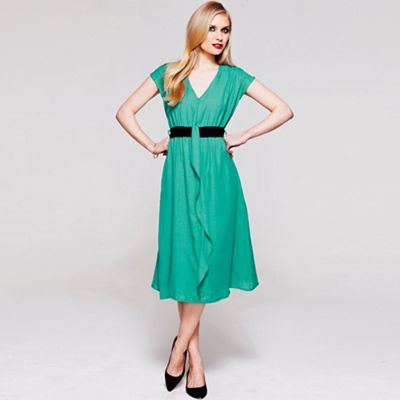Turquoise V Neck ruffle dress in clever fabric