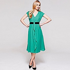 HotSquash - Turquoise V Neck ruffle dress in clever fabric