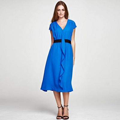 Cobalt V Neck ruffle dress in clever fabric