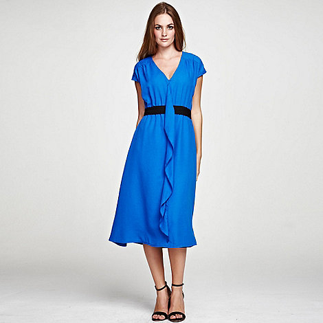 HotSquash - Cobalt V Neck ruffle dress in clever fabric