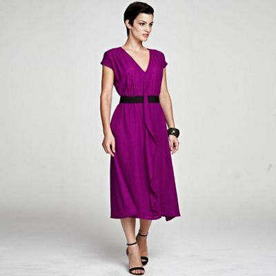 Berry V Neck ruffle dress in clever fabric