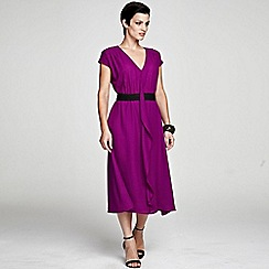 HotSquash - Berry V Neck ruffle dress in clever fabric