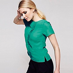 HotSquash - Turquoise pintuck crepe tee shirt in clever fabric