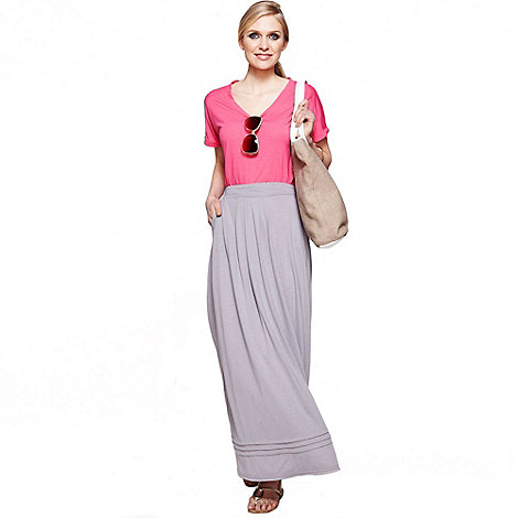 hotsquash grey maxi skirt with pintucks in clever thermal