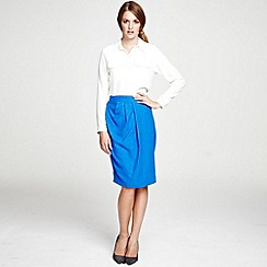 HotSquash - Cobalt Wrap skirt with diagonal waistband pleats