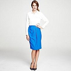 HotSquash - Cobalt Wrap skirt with diagonal waistband pleats