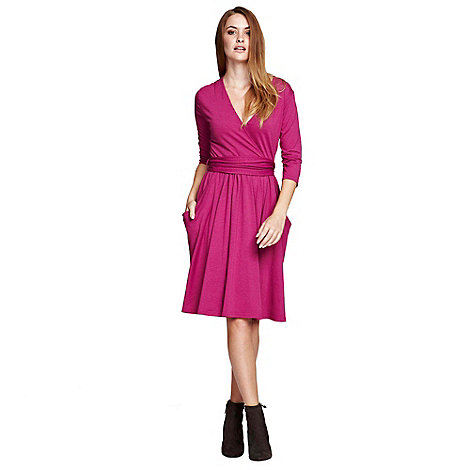 HotSquash - Berry Thinheat False wrap, fit +n flare thermal dress