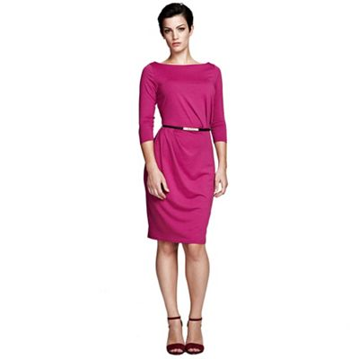 Berry Slash neck tuck detail dress in ThinHeat