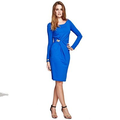 Cobalt Long Sleeve Dress with Gather Detail