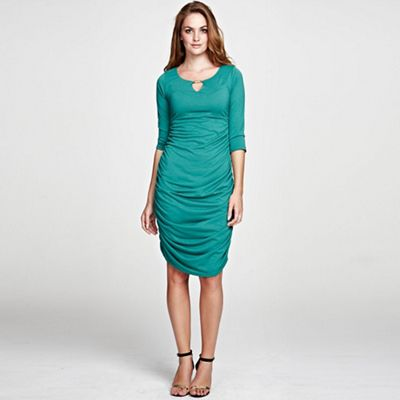 Green Gold Bar Ruched Dress in unique ThinHeat