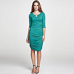 HotSquash - Green Gold Bar Ruched Dress in unique ThinHeat