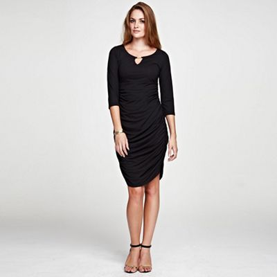 Gold bar black Ruched Dress in unique ThinHeat