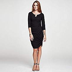 HotSquash - Gold bar black Ruched Dress in unique ThinHeat