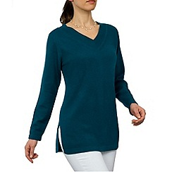 HotSquash - Dark Turquouse v neck long line jumper with side slashes