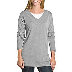 HotSquash - Grey v neck long line jumper with side slashes