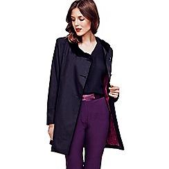HotSquash - Black Rain Resistant Coat with Velvet Trim