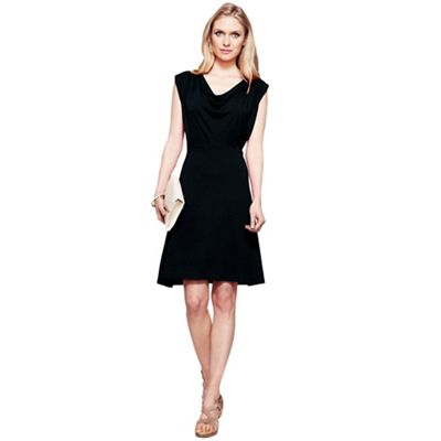 Black knee length cowl dress with CoolFresh