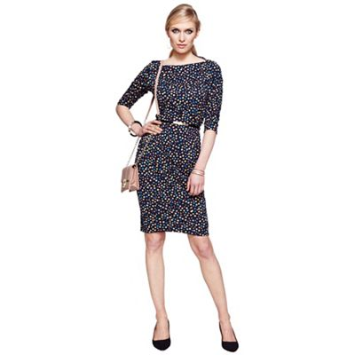 Dotty knee length slash neck dress with CoolFresh