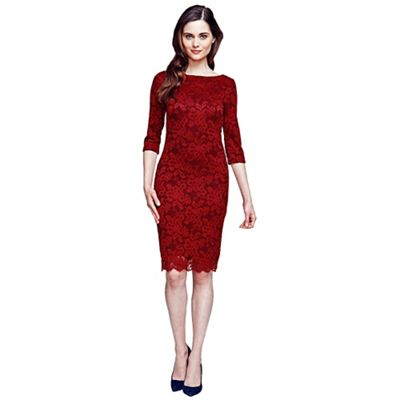 HotSquash Red long sleeved lace dress with Thin Heat