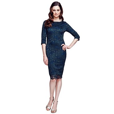 HotSquash Bottle green long sleeved lace dress with
