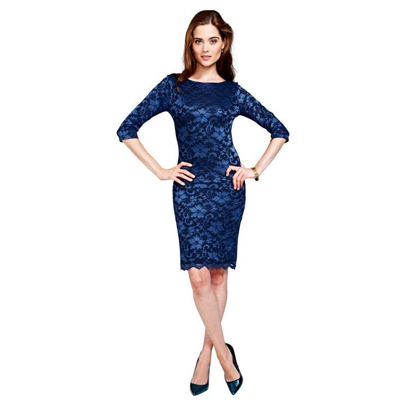Hotsquash Navy (Blue) Long Sleeved Lace Dress With