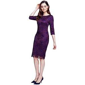 HotSquash Purple long sleeved lace dress with ThinHeat