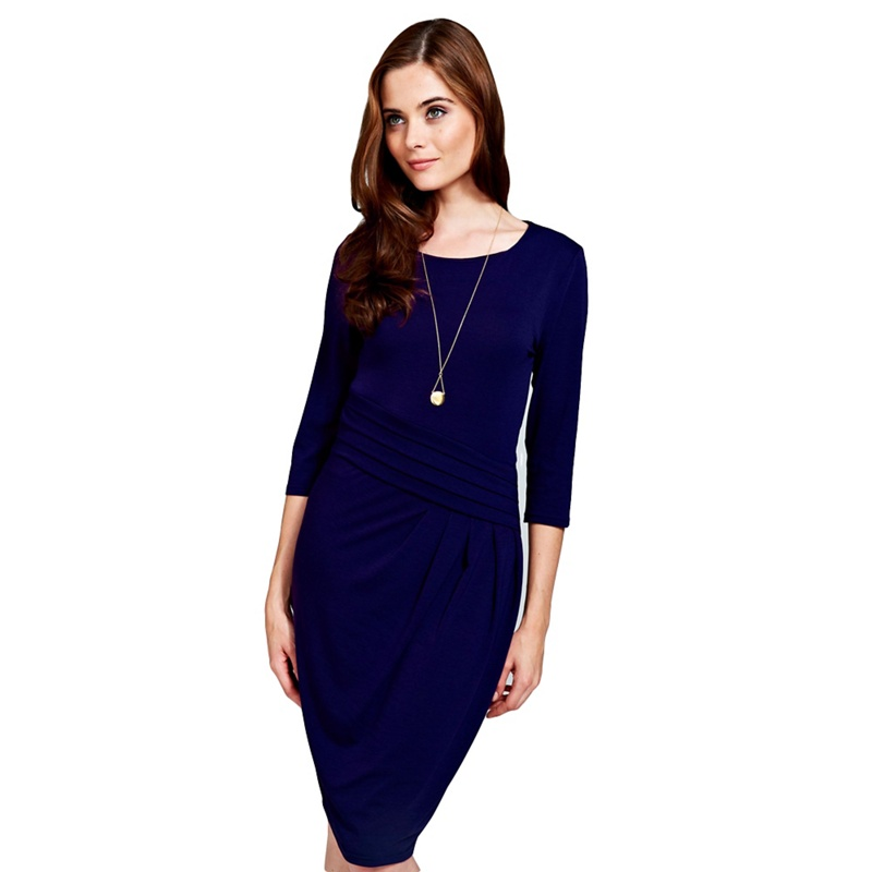 8ba00265ed1 HotSquash - Long Sleeved Midnight Blue Knee Length Dress