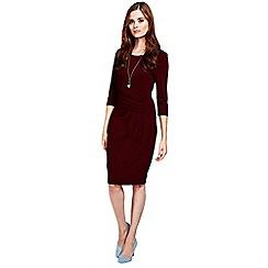 HotSquash - Long sleeved burgundy knee length dress
