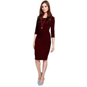 Plus Size Hotsquash Long Sleeved Burgundy Knee Length Dress