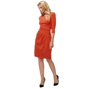 Plus Size Hotsquash Terracotta Pleat Waist Dress in Clever Fabric