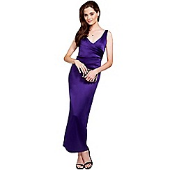 HotSquash - Purple silky long v neck dress