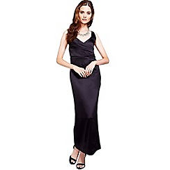 HotSquash - Black silky long v neck dress