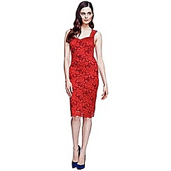 HotSquash - Red knee length lace dress with Temp Reg