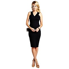HotSquash - Black knee length dress with v neck