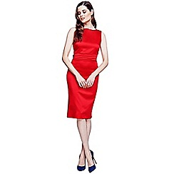 HotSquash - Red silky dress with tie belt and pleat detail
