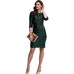 HotSquash - Bottle-green thermal 3/4 sleeves sequin dress
