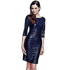 HotSquash - Dark blue knee length sequin dress