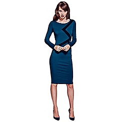 HotSquash - Teal longsleeve knee length dress with black trim