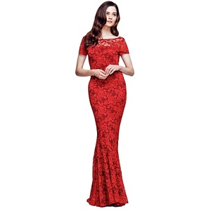 HotSquash Red Lace Maxi Dress with Capped Sleeve
