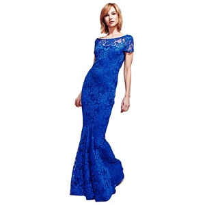 HotSquash Royal Blue Lace Maxi Dress with Cap Sleeve